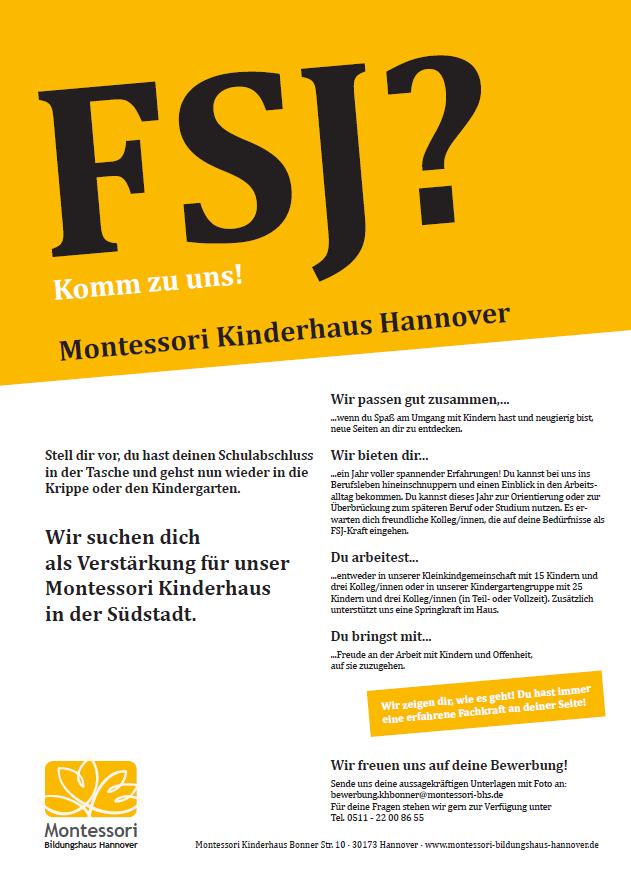 FSJ - Wir suchen dich als Verstärkung für unser Montessori Kinderhaus in der Südstadt