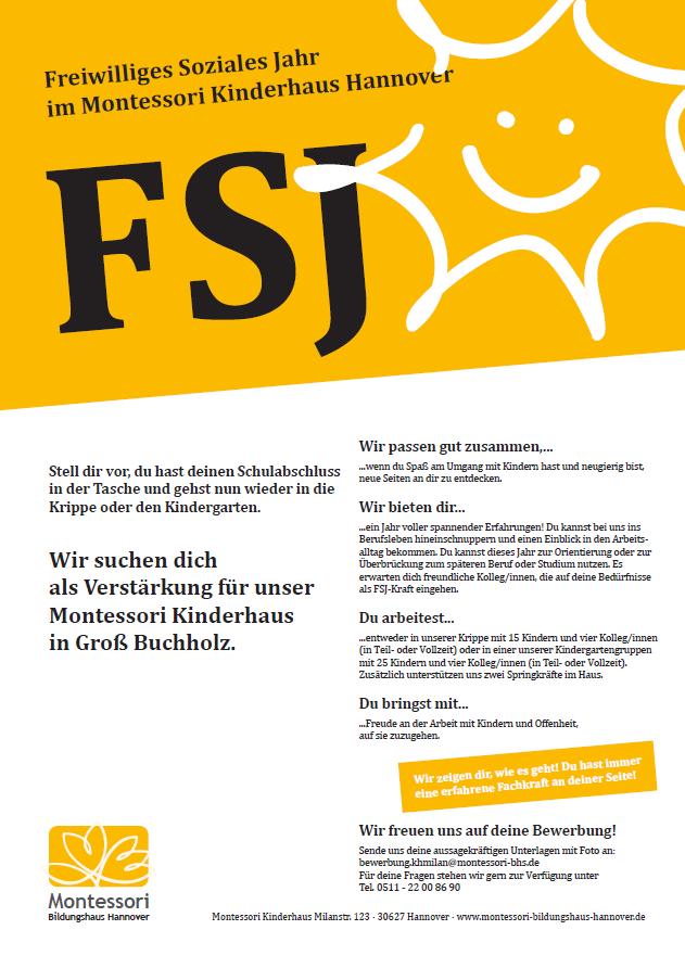 FSJ - Wir suchen dichals Verstärkung für unser Montessori Kinderhaus in Groß Buchholz