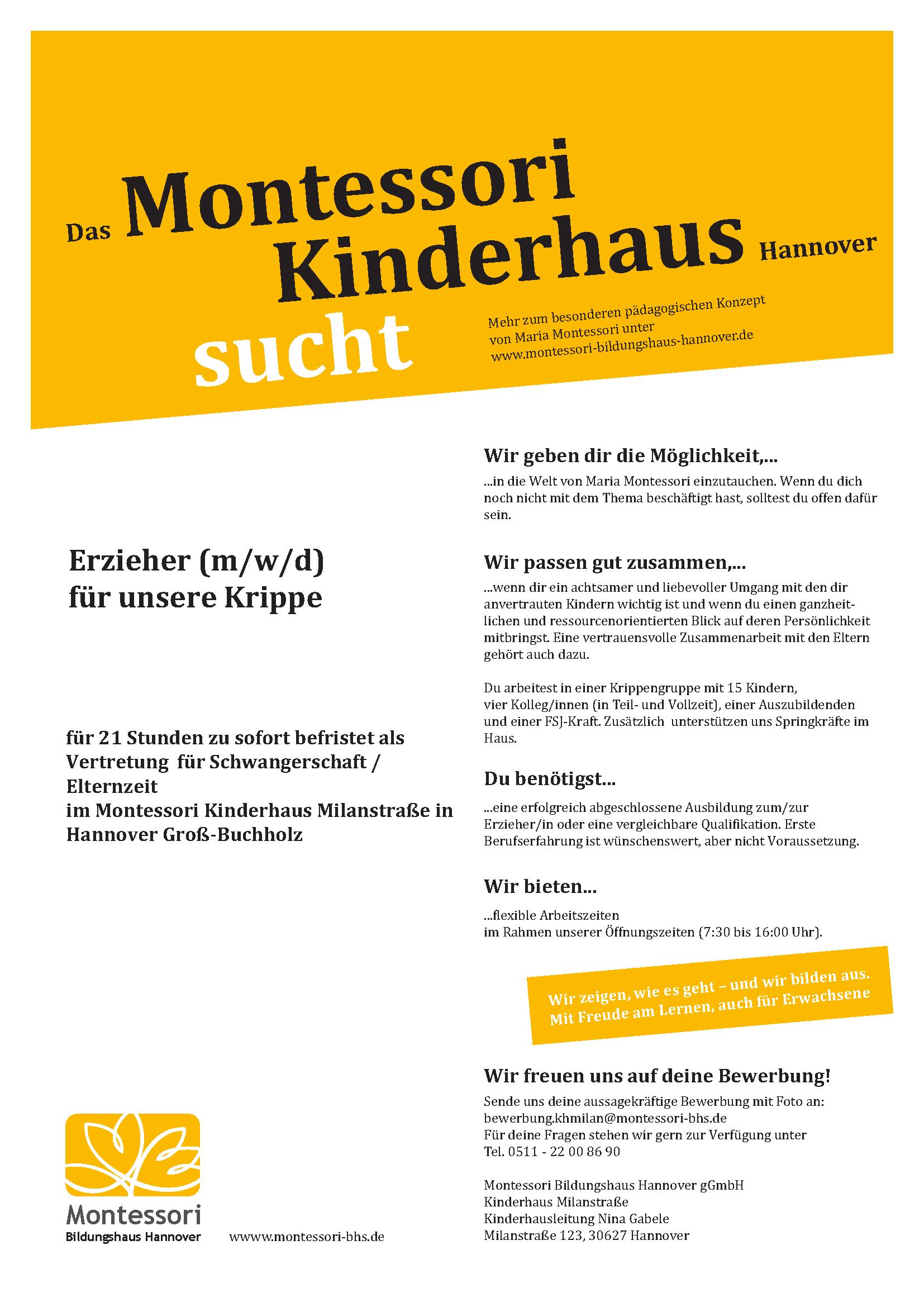 Wir suchen dich als Erzieher/in für unser Montessori Kinderhaus in Groß Buchholz