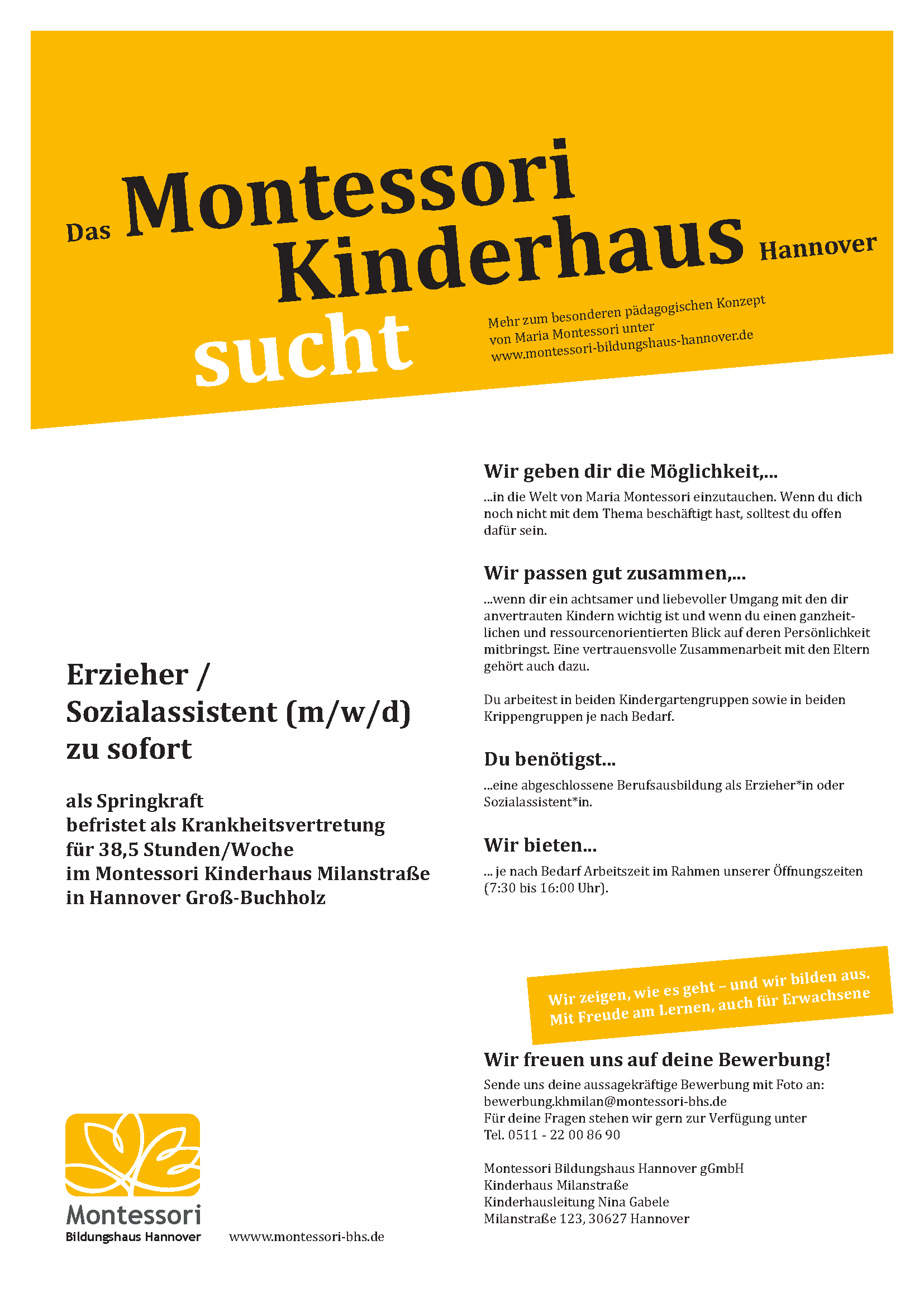 Wir suchen dich als Springkraft für unser Montessori Kinderhaus in Groß Buchholz